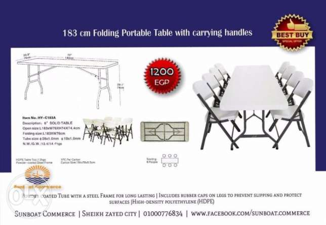 183 cm Folding Portable Table with carrying handles