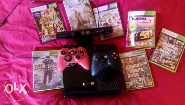 Xbox 360 with 2 joysticks,6 games original,fifa 17