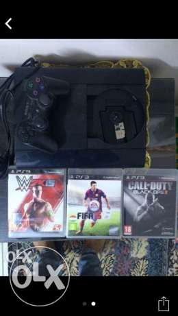 PS3 + Fifa 2015 +call of duty black oops 2 + wwe 2015 حلوان -  2
