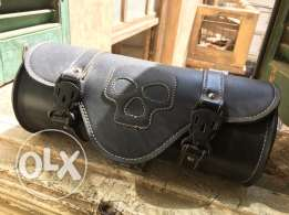 motorcycle leather bag round barrel black