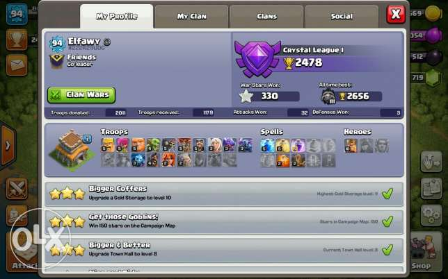Clash of clane for sale lvl 8