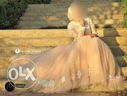 Engagement dress by Noural Elsawaf 2700 from 9000 with bouquet & crown