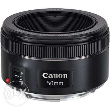 lens 50 mm f1.8 stm like new with box &hood
