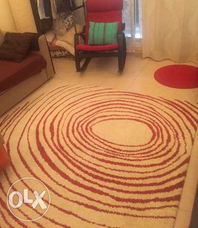 IKEA Rug - red and off white . سجادة من ايكيا مربعة