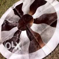 Real cowhide leather round rug 140cm