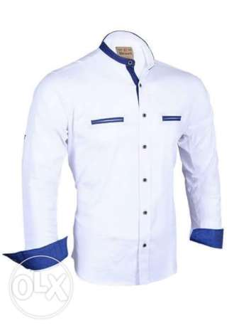Elite White Cotton Shirt Neck Shirts For Men قميص رجالي لون ابيض