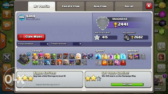town 9 max , 3000 dimond ,hight trophes ,high troops level شيراتون -  2