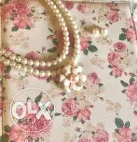 Flower Pearl Necklace and Earrings