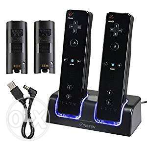 wii Dual Charging Station w/ 2 Rechargeable Batteries & LED Light for0