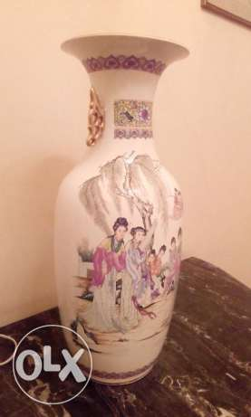 (2) Vintage tall Porcelain hand painted Chinese Vases 13000 LE each
