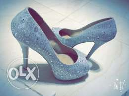 silver heel shoes