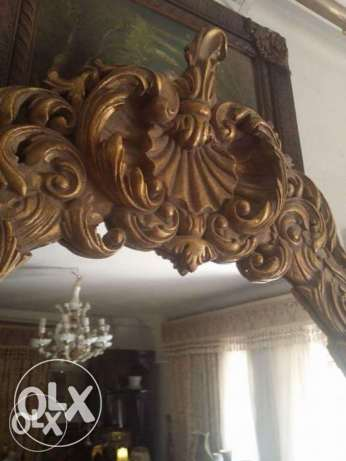 New huge wood mirror looks like old very elegant gold soft oiyma
