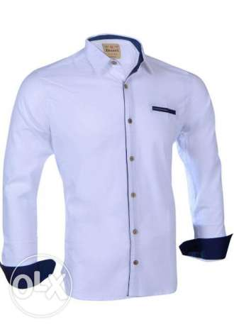 Elite White*Navy Cotton Shirt Neck Shirts For Men قميص رجالي قطن