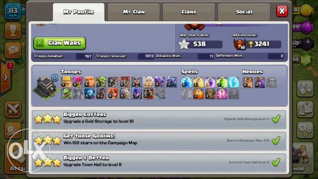 clash of clan town hall 9 max