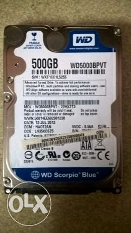 هارد لاب توب WD Scorpio Blue 500 GB