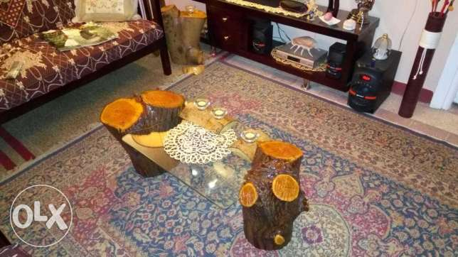 Natural Jungle wood glass table طنطا -  1