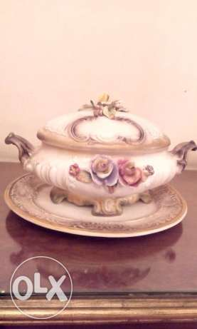 French Bowel with lid and plate (BISQUET) made in France