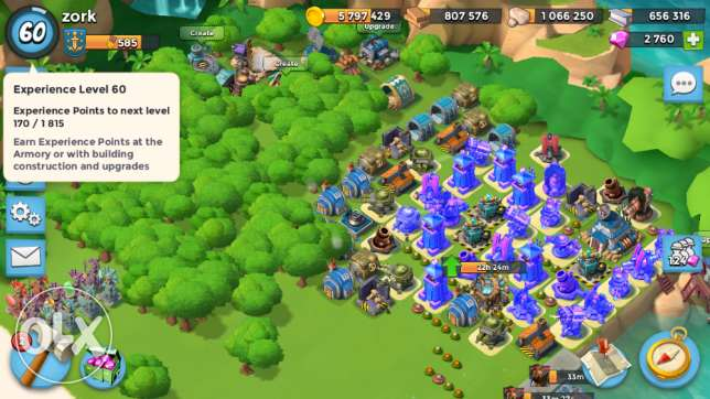 Boom Beach acc lvl 60 HeadQuarters lvl 20 with max upgrades in troops