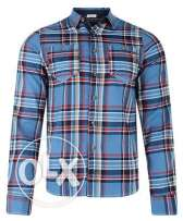 Lee Cooper New Men's Long Sleeve Cotton Check Shirt Red Green Blue