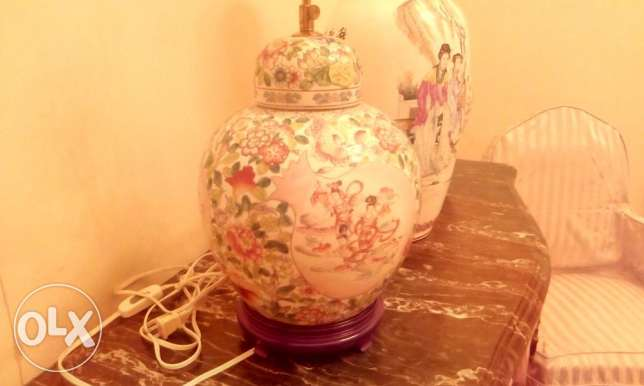 Antique Colorful Hand Painted China Porcelain Vase ( as Lamp) Abajour