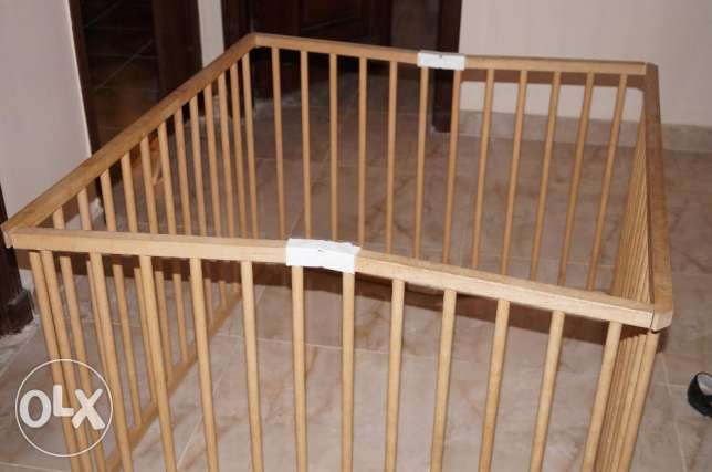 French wooden baby playpen