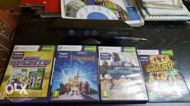 Kinect for xbox 360 with 5 new original cds