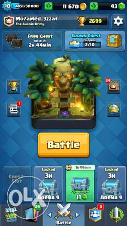 Clash of clans TH7 + Clash royal Xp level 10 arena 8 4 Legendre cards