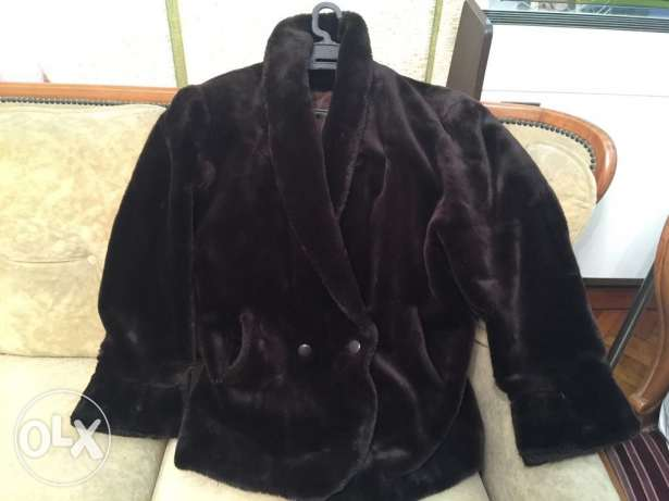 Brown heavy fur jacket xL