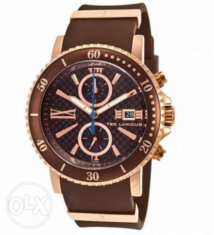 Ted Lapidus Men's Brown Dial Rubber Band Watch