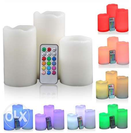 13Romantic 3Pcs wireless remote control led flameless candle للرومانسي