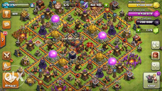 Clash Of Clans lvl 180, TH 10, Max 100% Heroes /Walls/Troops شبرا -  1
