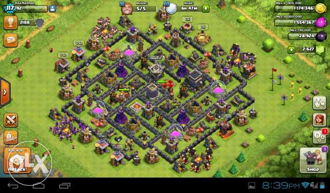 Clash of clans th 9 wall lvl 9 +2629 games