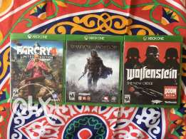 3 games for Xbox One : Farcry , wolfenstein , shadow of mordor