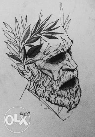 Old man with by pencils