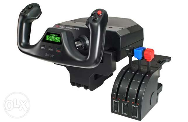 flight simulator yoke and throttle and pedals