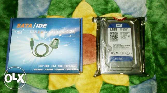 هارد ويسترن أزرق WD Blue PC Hard Drive 1TB + SATA/IDE USB Cable