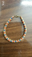 blue, yellow and red leather bracelet
