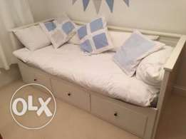 Day bed frame white w 3 drawers IKEA كنبة سرير٣ ادراج