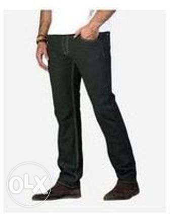 للبيع بنطلون Dockland Olive Color Straight Trousers Pant For Men الزيتون -  1