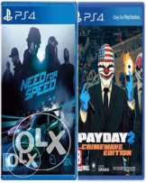 اكونت لعبة Need for speed 2016 + payday 2 PS4 او البدلgta v
