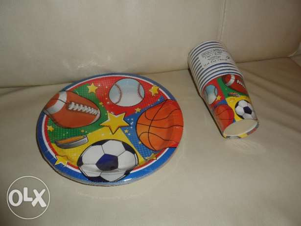 New Sports Themed Kids Boys Birthday Paper Party Cups Plates USA