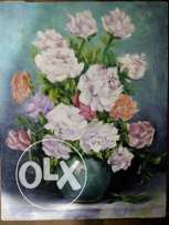 White flowers in a vase / oil on canvas. 23\33