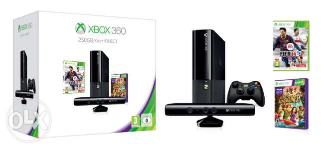 xbox360, modified with kinect and two joy sticks, 250 giga plus 1000 g