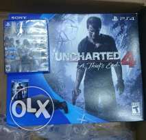 Ps4 slim 500 g + controller + 2 cd (ac : syndicate & uncharted 4 )