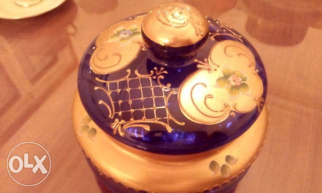 Vintage Cobalt Blue Bohemian Czech Luxury Bowl Gold Enamel