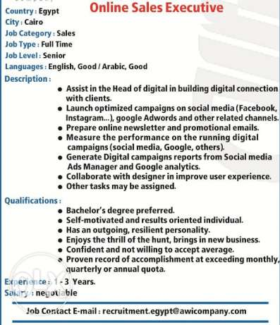 Online Sales Executive are required for International Group