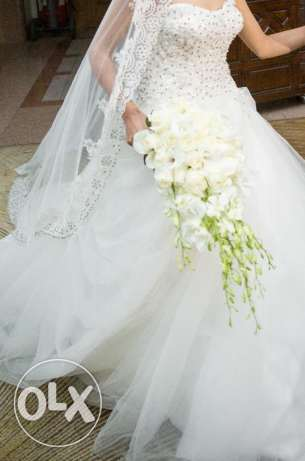 wedding dress for sale with long veil