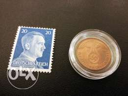 Rare - German 3rd Reich 1937 Coin and Stamp