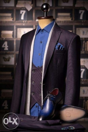 Italian Slim Fit Herringbone Purple Full Suit