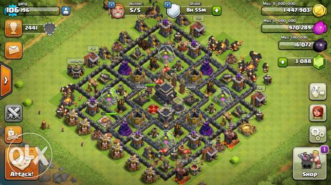 town 9 max , 3000 dimond ,hight trophes ,high troops level شيراتون -  1